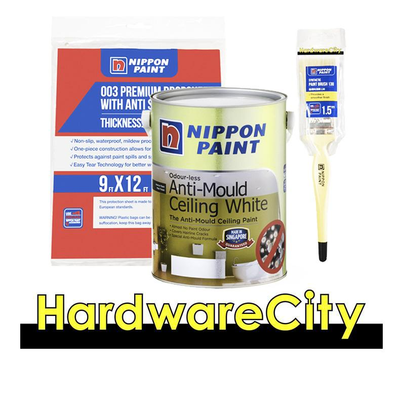 Nippon Paint Odour-Less Anti-Mould Ceiling White 1 Litre Package [anti Mould Package] By Hardwarecity Online Store.