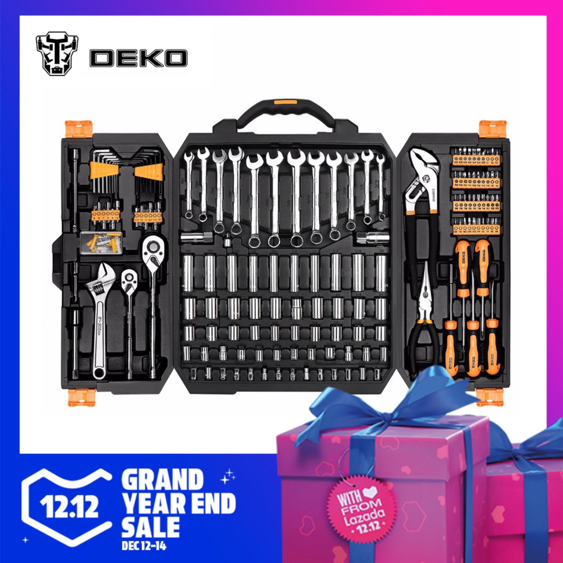 DEKO 192 Pcs Professional Car Repair Tool Set Auto Ratchet Spanner Screwdriver Socket Mechanics Tools Kit W/ Blow-Molding Box