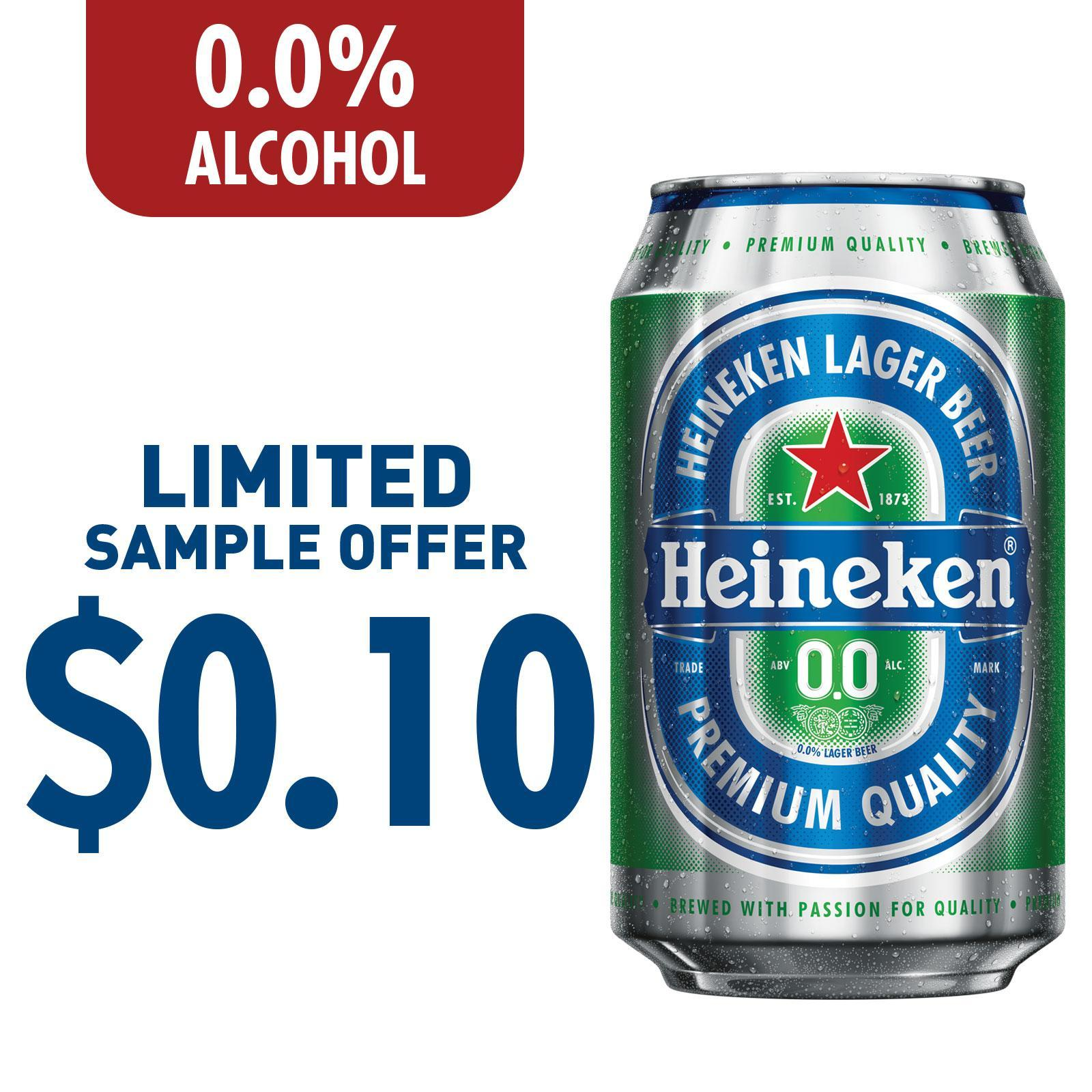 Heineken 0.0% Zero Alcohol Beer Can - Sample [MAX 1 PER CUSTOMER]