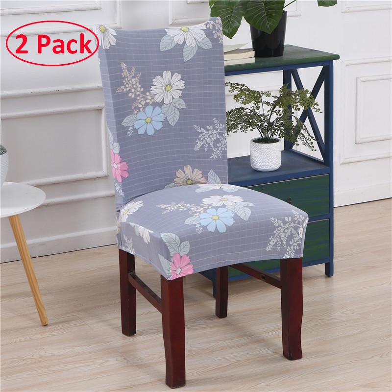 JansHome High Stretch Dining Room Chair Covers Fashion Printed Chair Slipcovers Protectors Sets of 2