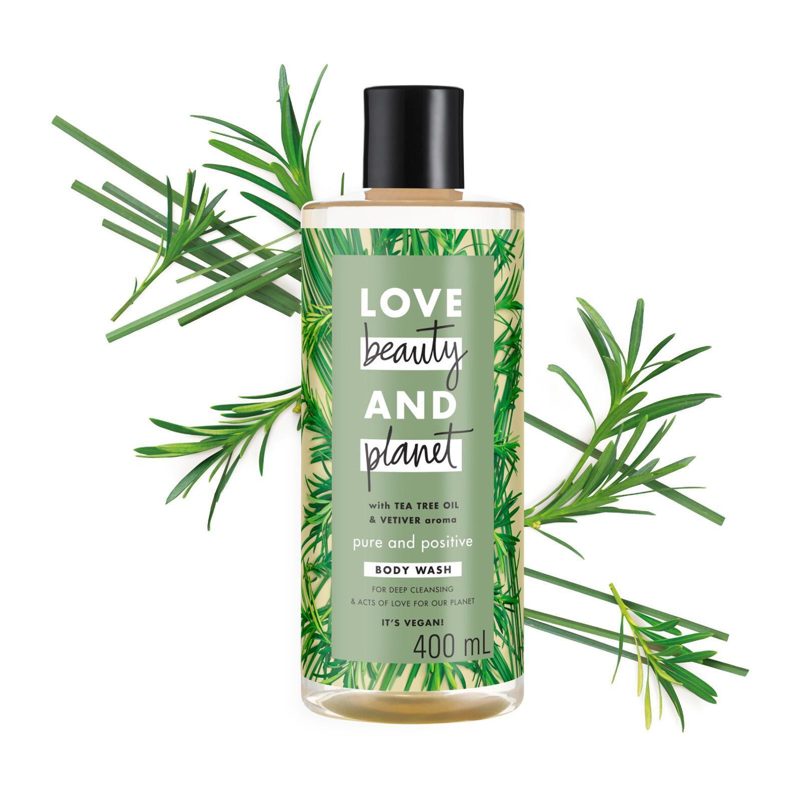 Love Beauty & Planet Vegan Body Wash Tea Tree Oil and Vetiver Pure and Positive
