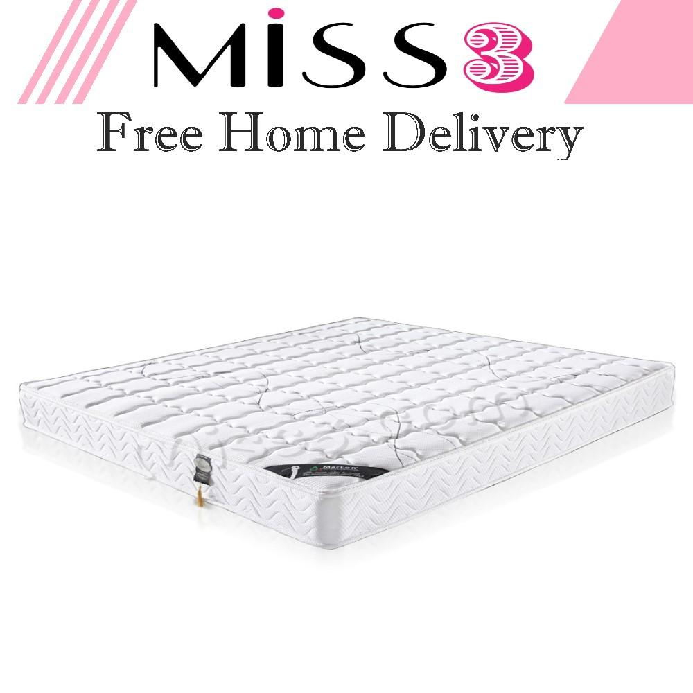 Quilted fabric bamboo+Coconut fiber bed spring coil Queen mattress