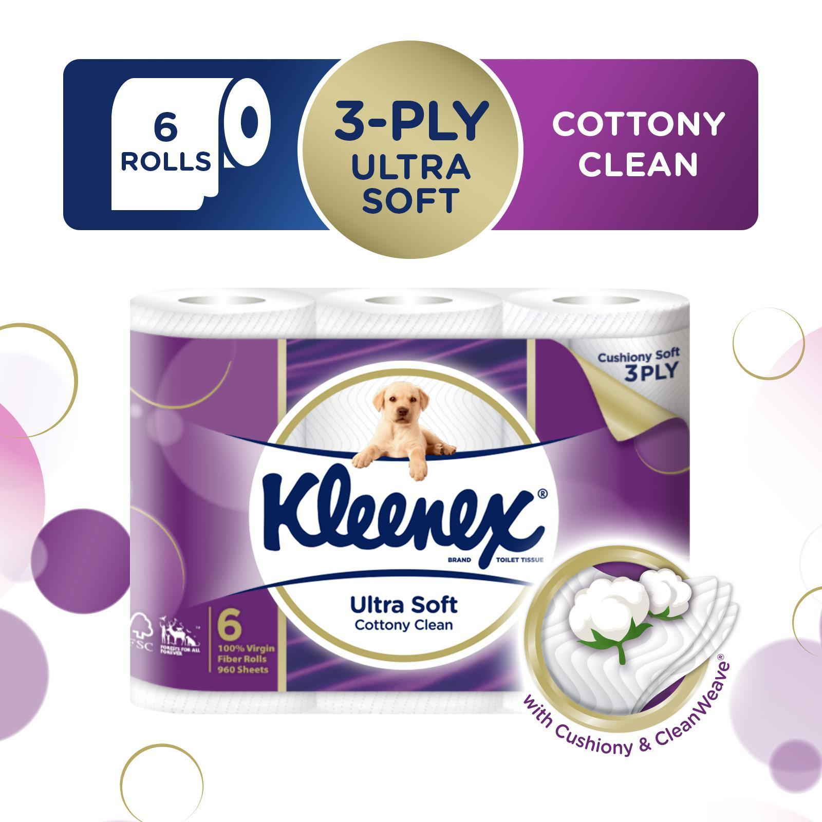 Kleenex Ultra Soft 3-Ply Toilet Tissue - 6 Rolls