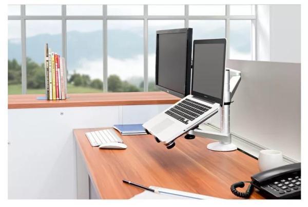 2-In-1 Dual Monitor Arm VESA Monitor and Laptop Adjustable Dual Monitor Arm Desk Mounts Single Desk Arm Stand/Holder [Dual Monitor Arm + Laptop Holder]