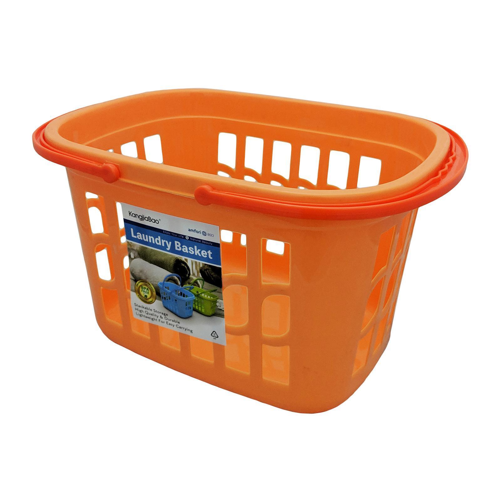 KangjiaBao Plastic Laundry Basket ( 40 X 28 X 23 CM ) (Orange)