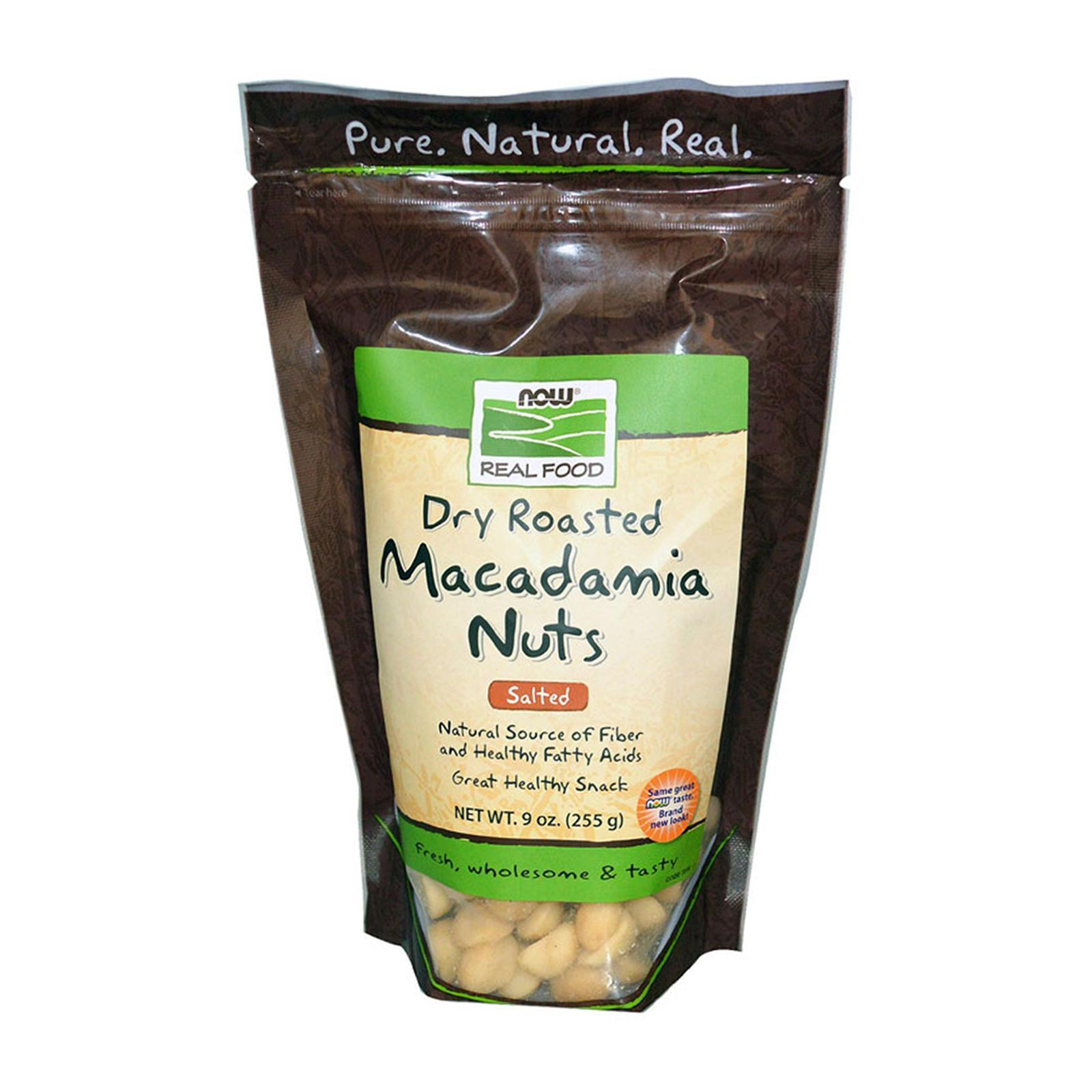Now Foods Real Food Macadamia Nuts Dry Roasted Salted 9 Oz (255 G)