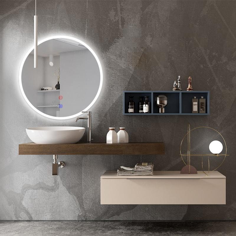 Bathroom Mirror with LED Strips, Touch Screen Switch Wall Light