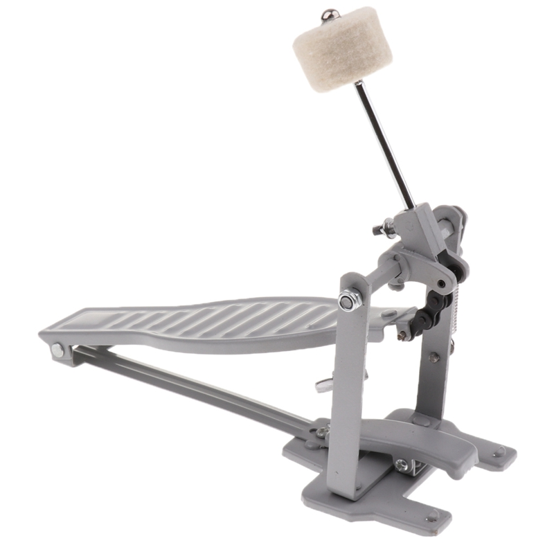 Aluminium Alloy Single Spring Bass Children Drum Pedal Adjustable Stroke with Wool Beater Percussion Replacement Accessories Silver