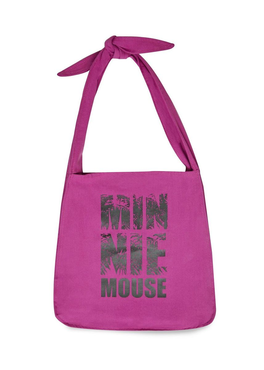 Disneys Minnie Mouse Typographic Print Tote Bag with Knotted Strap