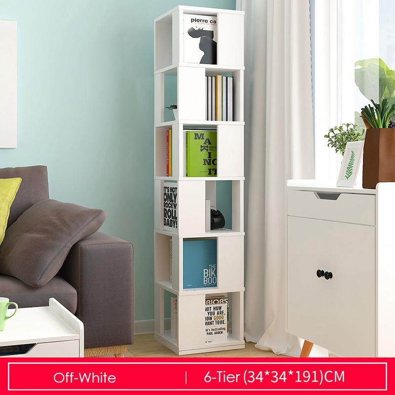 Off-white Rotating Wooden Storage Bookshelf-6 Tier