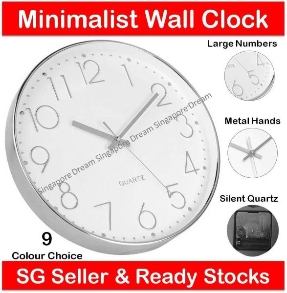 Wall Clock - Silent Quartz Battery Operated Wall Clock for Living Room Home Office with Plastic Frame and Glass Cover 30cm (Home Decor 3d Modern Large Diy 12 Watch Digital Alarm Office Mirror Art Silent Led Sticker Big Quartz)