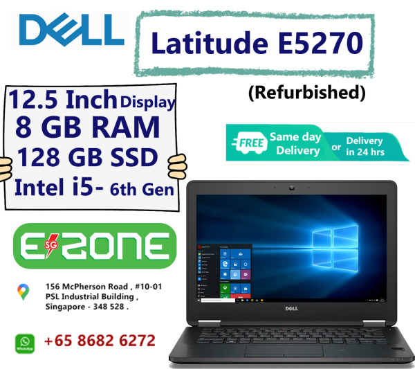 [Same Day Delivery or within 24 hrs Delivery ] Dell Latitude E5270 (Refurbished) | 12.5in Business Laptop Computer | Intel Dual-Core i5-6300U up to 3.0GHz | 8GB RAM | 256 GB SSD | Bluetooth 4.1 |USB 3.0 | HDMI | Windows 10