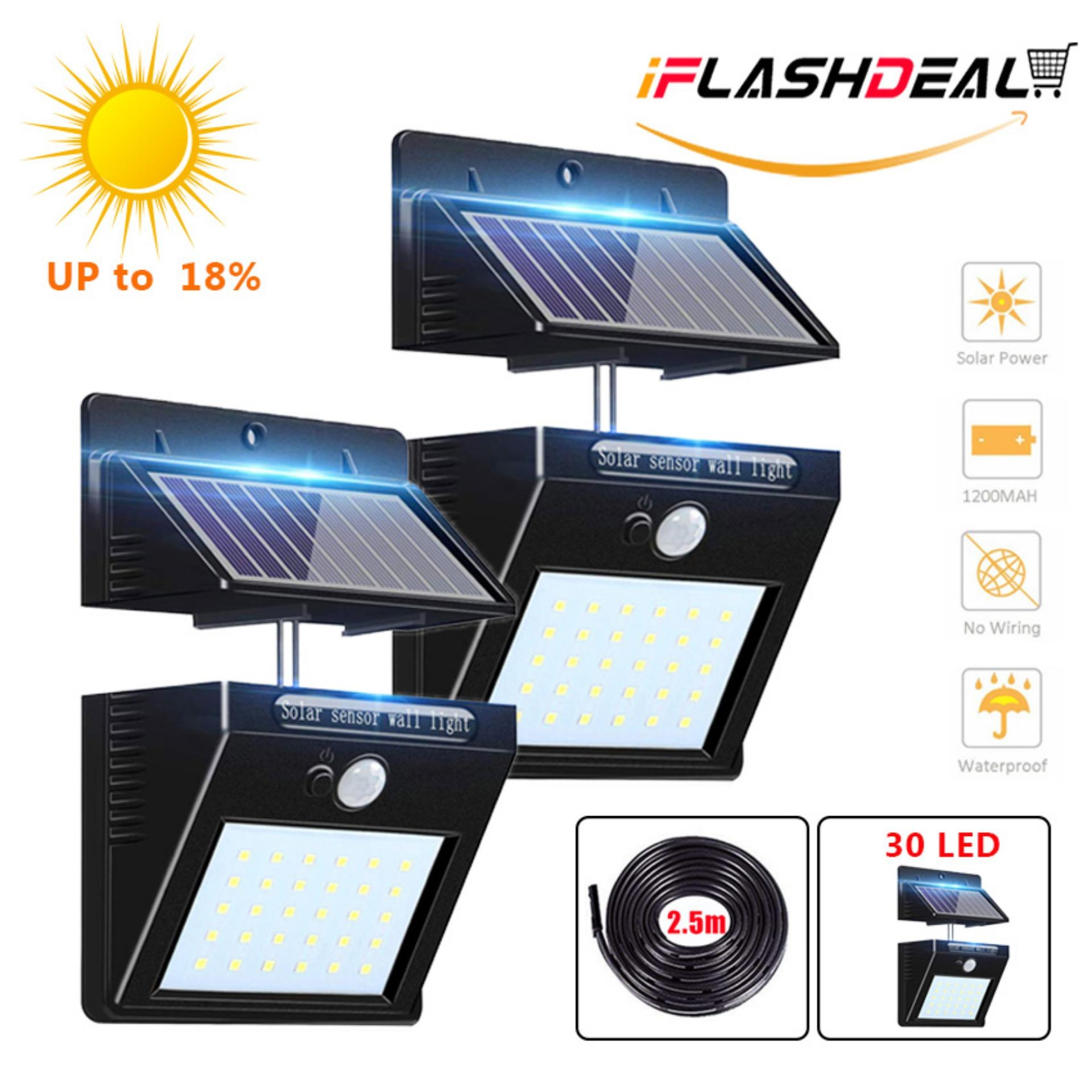 iFlashDeal Outdoor Lighting 30 LED Sensor Solar Wall light with Separable Solar Panel Powered Motion Sensor Light Security Outside Wall Lamp for Driveway Patio Garden Path (2 Pack)