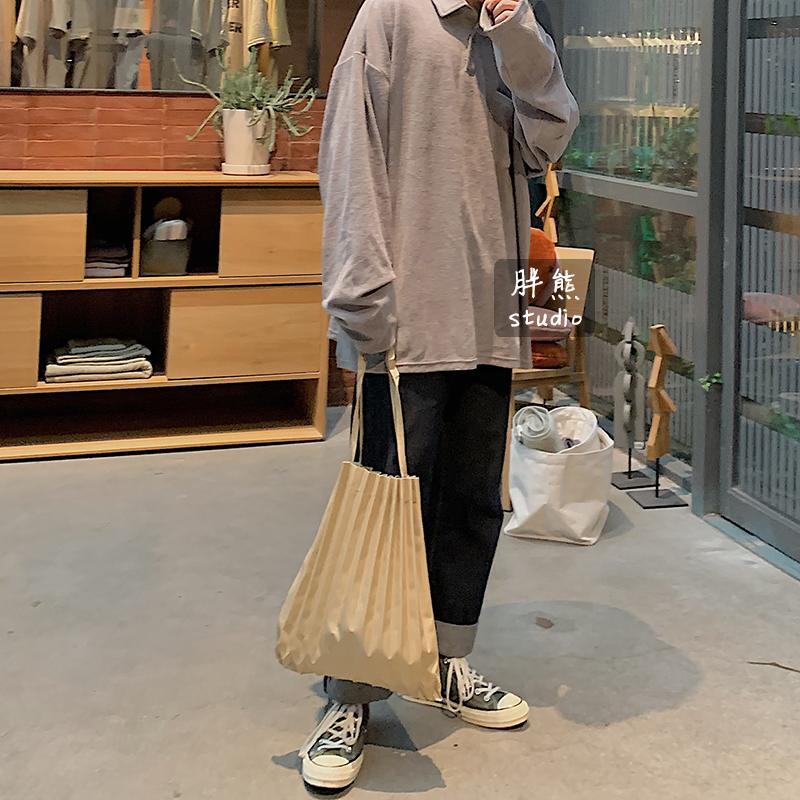 Miyake/Japan Designer Miumiu Bag Solid Color Canvas Bag Environmentally Friendly Shopping Bag Simple Versatile Portable Shoulder Bag