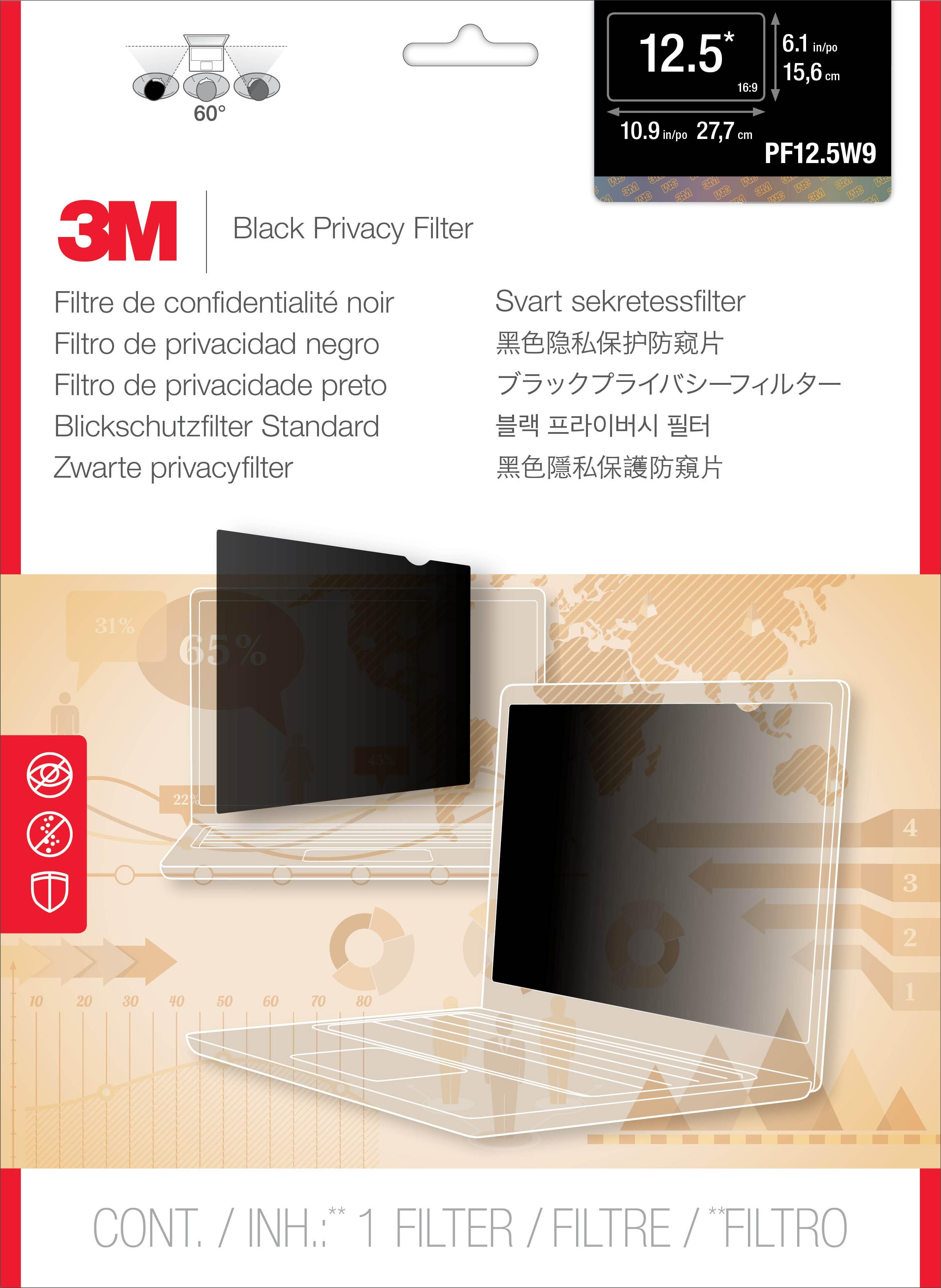 3M Privacy Filter for 12.5 Widescreen Laptop (PF125W9B)