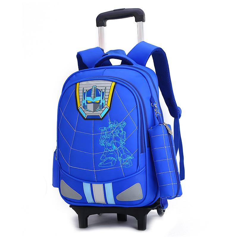 Student Trolley School Bag Childrens Removable Backpack OTH3