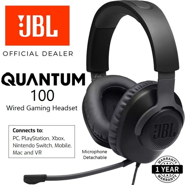 JBL Quantum 100 Multi-Platform Over-Ear Gaming Headset with Detachable Boom Microphone