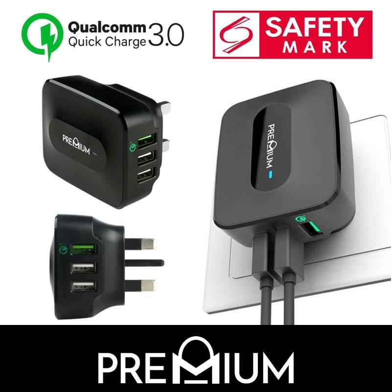 [singapore Safety Mark] Quick Charge 3.0 Wall Charger Adapter Premium Bolt Multi Plug With 3usb Port For Iphone X Xs Max Xr 8 7 6 6s Plus Samsung Note 9 8 S9 S8 Plus S7 Edge Huawei By Premium Sg.