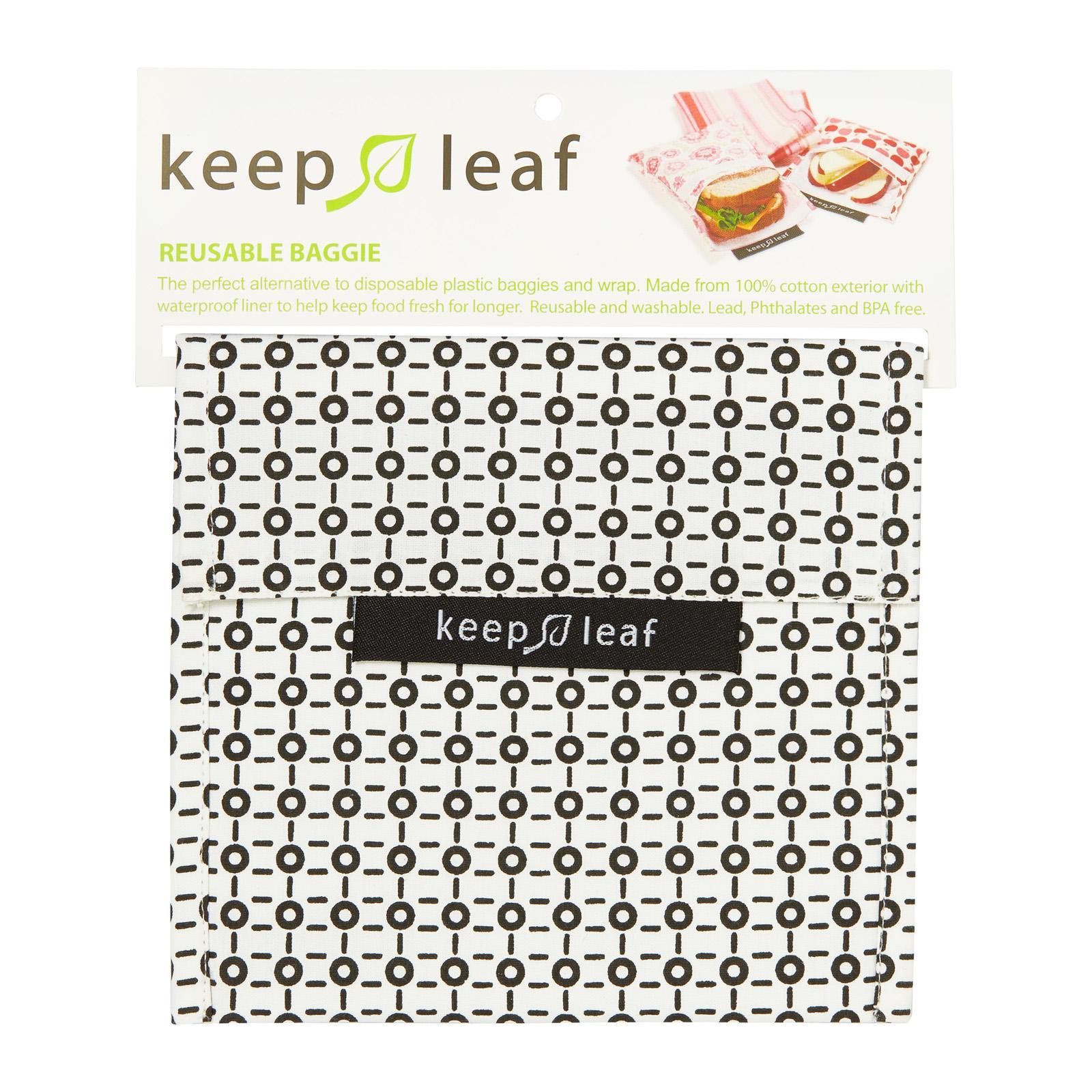Keep Leaf Reusable Snack Bag (Large) Black And White Design