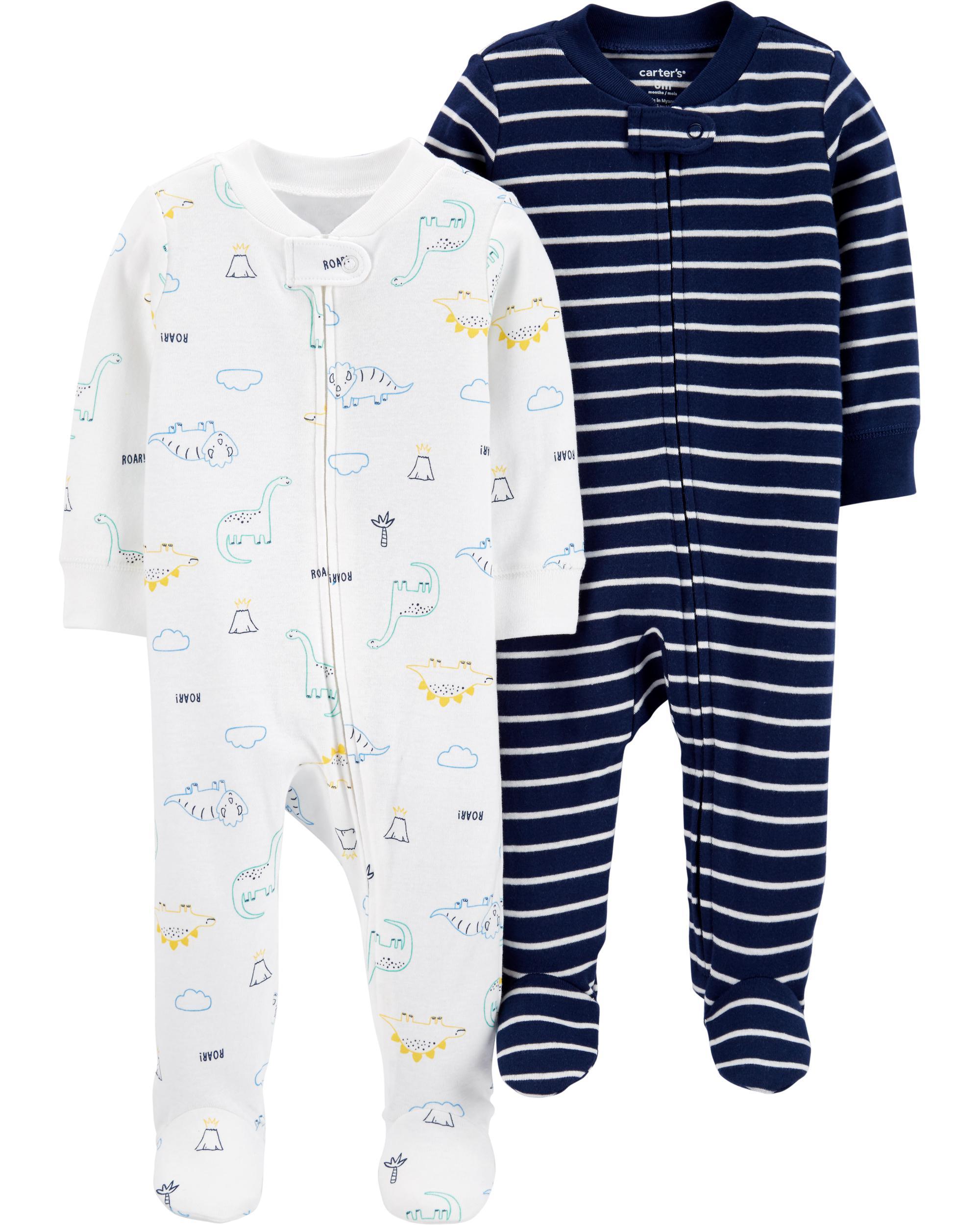 Carter/'s Long Sleeve Zip-Up  Penguin Pajamas Size 12 Months NWT