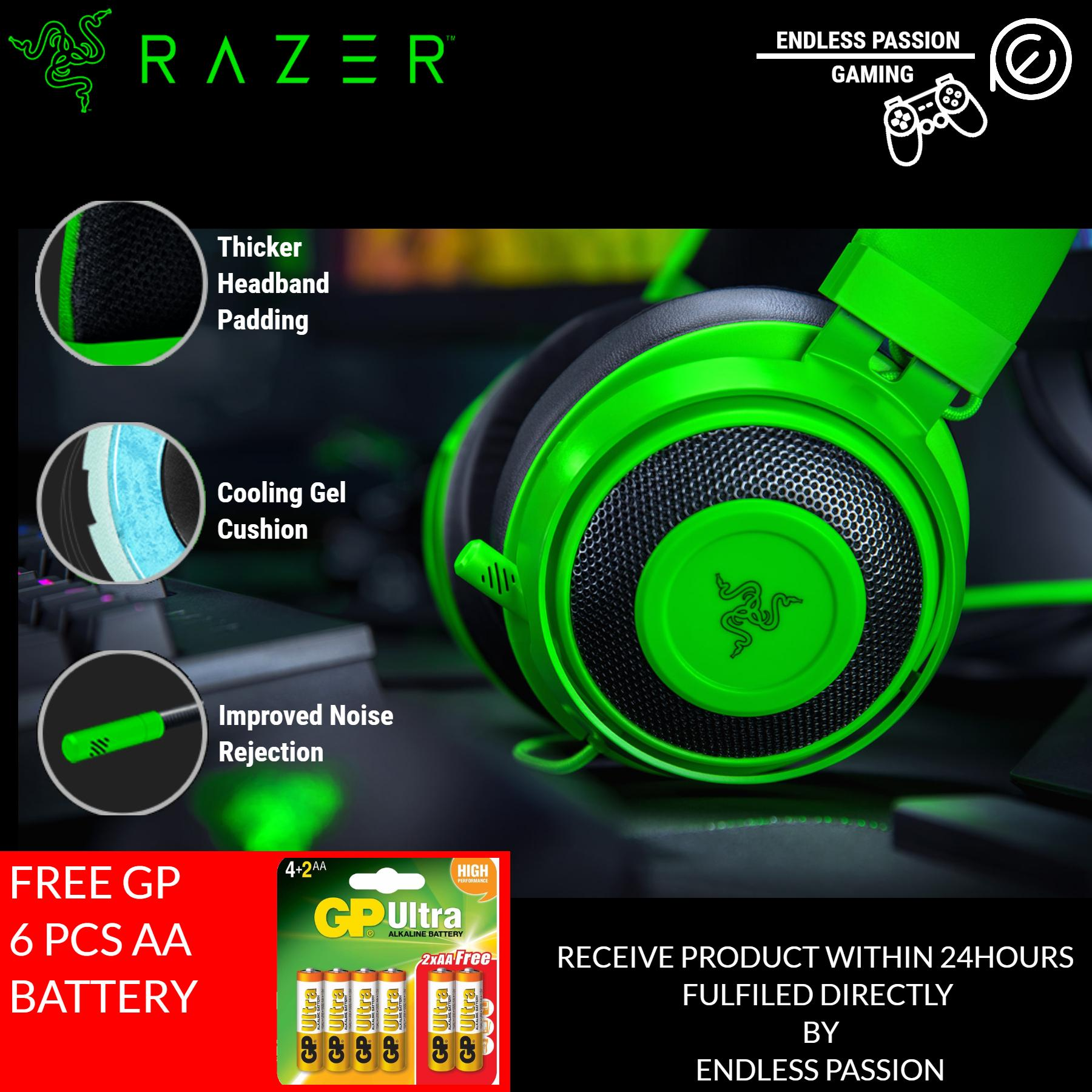 Razer Kraken Wired Gaming Headset 2019 - Lightweight Aluminum Frame, Retractable Noise Cancelling Mic, for PC, Xbox, PS4, Nintendo Switch