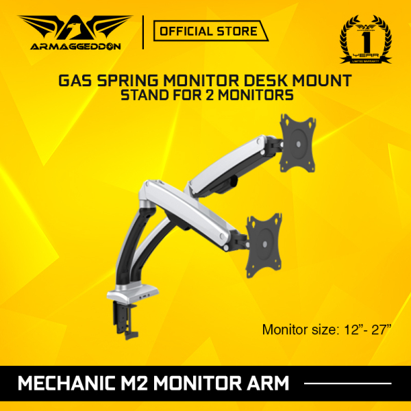 Armaggeddon Mechanic M2 Articulating Gas Spring Monitor Arm For 2 Monitor [Adjustable Desk Mount 360 Rotation &Height]