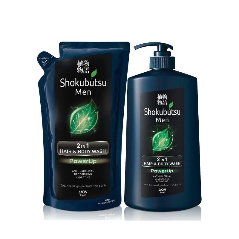 Buy Shokubutsu Men 2-in-1 Hair & Body Wash - PowerUp 850ml + Shokubutsu Men 2-in-1 Hair & Body Wash Refill - PowerUp 550ml Singapore