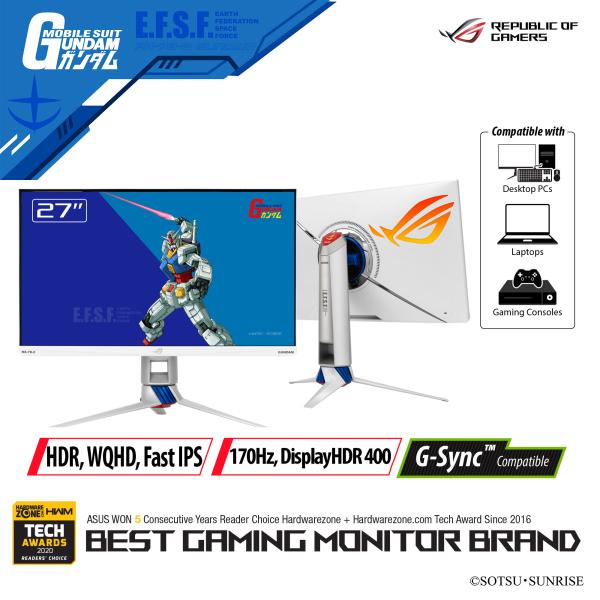 ASUS ROG Strix XG279Q-G GUNDAM EDITION 27-inch Monitor WQHD (2560 x 1440) Fast IPS panel DCI-P3 95% DisplayHDR™ 400