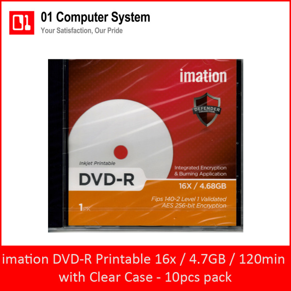imation DVD-R 16X Inkjet Printable with Clear Case (10pcs Pack Bundle)