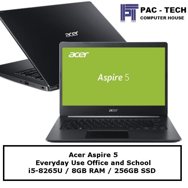 Acer Aspire 5 / i5-8265U / 8GB RAM / 256GB Solid State Drive / 14 HD / 1 Year Warranty