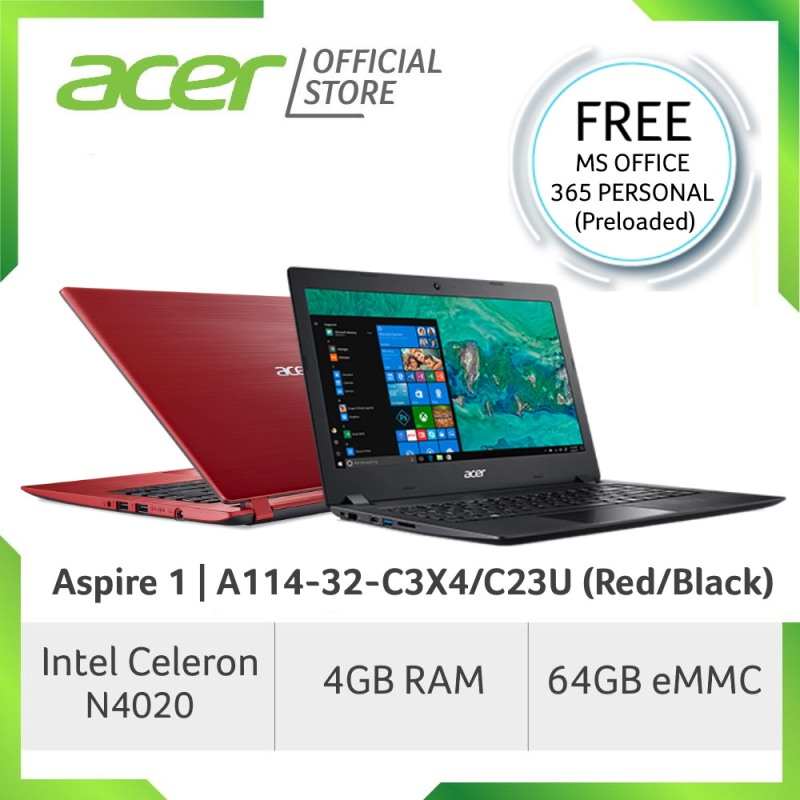 [PRE-ORDER] Acer Aspire 1 A114-32-C3X4/C23U (Red/Black) Laptop [Latest JUNE 2020 Model] - [SHIP OUT EARLY JULY]