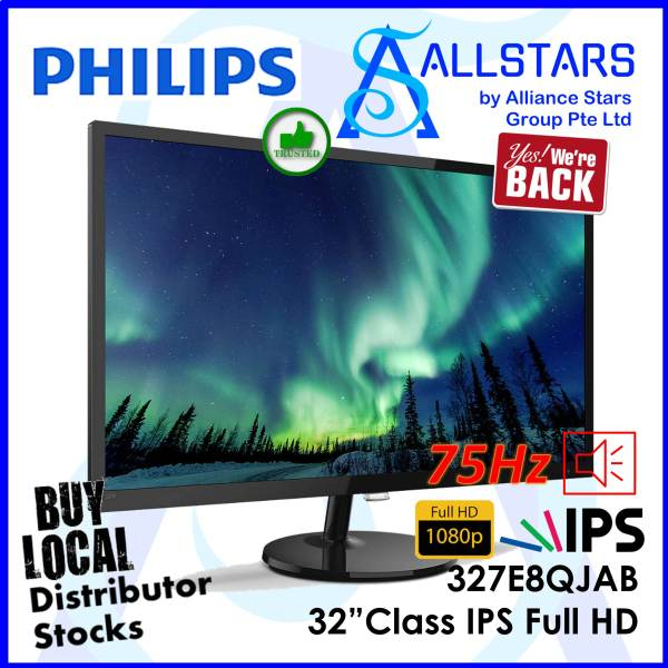 (ALLSTARS : We are Back PROMO) Philips 31.5 inch / 32 inch Class 327E8 / 327E8QJAB DP+HDMI / Built-in Speaker IPS Full HD Monitor (Warranty 3years on-site with Philips SG) [HDMI & Display Port Cable Inside !]