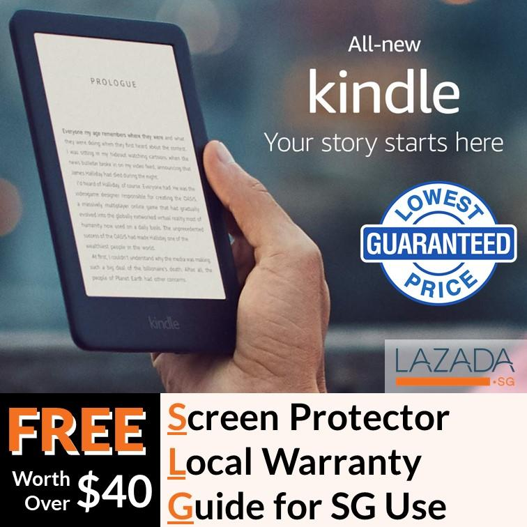 Latest 2019 Amazon Kindle 10th Gen with Backlight + Screen Protector +  Kindle SG SetUpGuide + Amazon Warranty