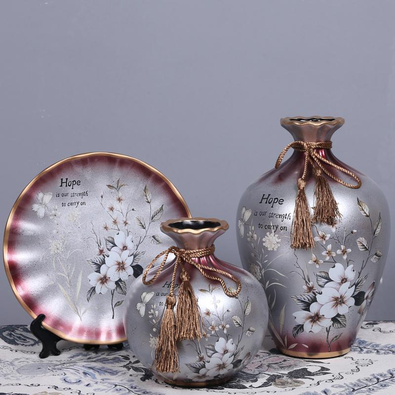 European Style Creative TV Cabinet Ceramic Living Room Dried Flower Vase Wine Cabinet Decorations Small Ornaments 58 Decorative Crafts