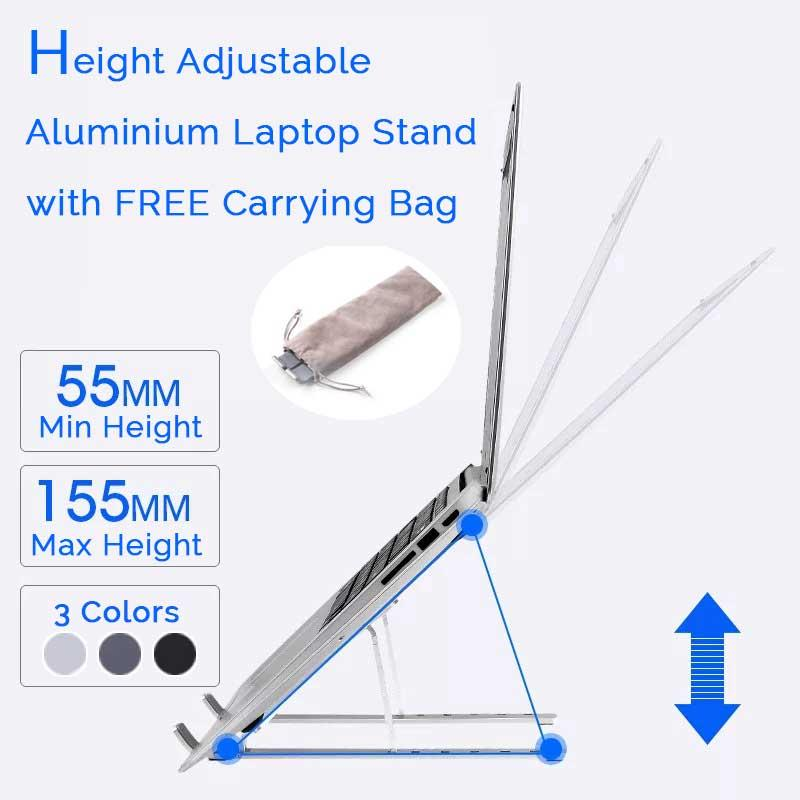 Adjustable Aluminium Laptop Stand Foldable & Portable For Up to 15 Laptop With Anti Slip Design With Free Carrying Bag 3 Colors