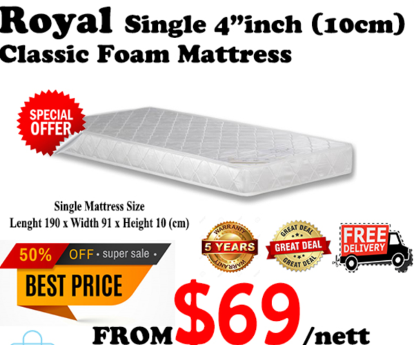 Royal 4 foam Mattress (Single) COD Available!
