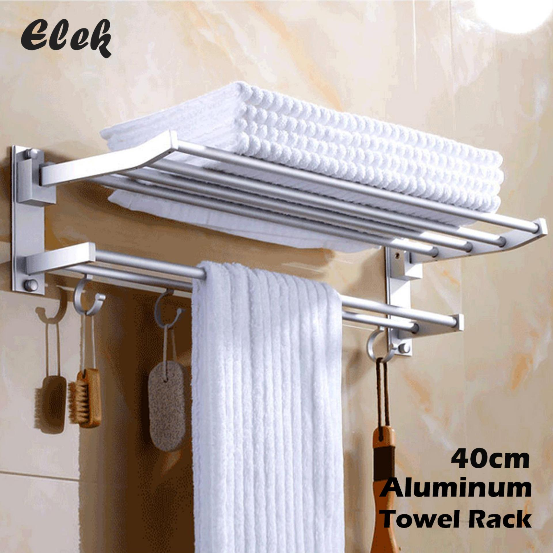 Admirable Elek 40Cm Foldable Bathroom Shower Wall Mounted Dual Layer Space Aluminum Towel Storage Hanger Shelf Holder Stand Rack With Hooks Download Free Architecture Designs Rallybritishbridgeorg