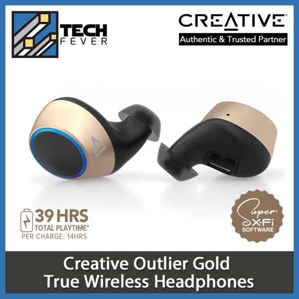 Creative Outlier Gold TWS True Wireless Sweatproof Earphones with Software Super X-Fi, Bluetooth 5.0, aptX/AAC, Long Battery Life 39hrs Total, 14hrs Per Charge, Siri/Google Assistant (Gold) Singapore