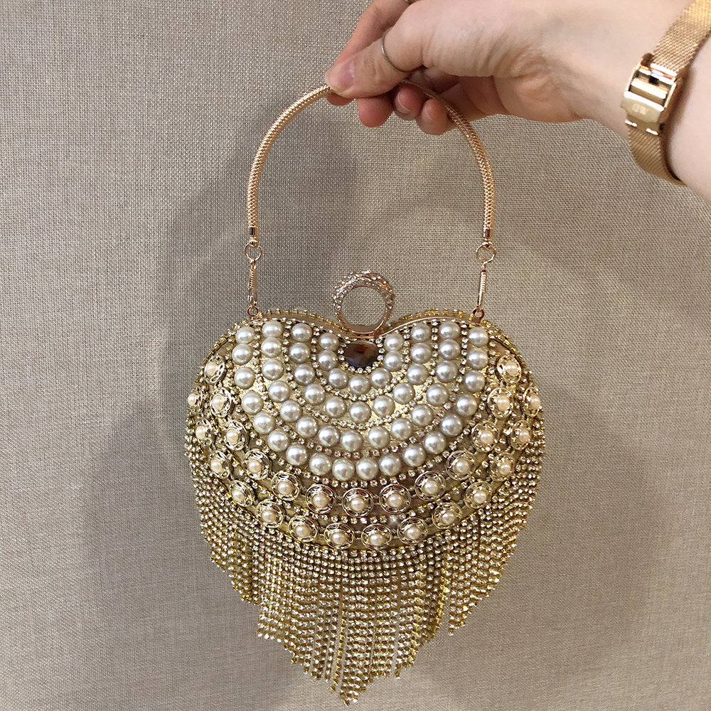 HOLILA Heart Shape Style Glitter Crystal Diamond Chain Tassel Top-Handle bag Set With Diamond Pearl Dinner Evening Bag Woman Party Banquet Wedding Bag Ring Clutch Shoulder Bag#2019-105