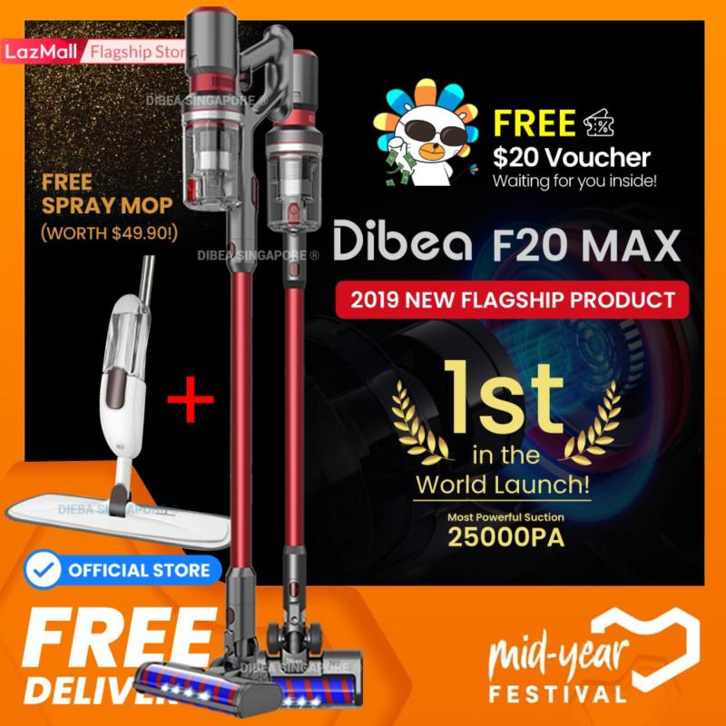 [Official Dibea Singapore] Dibea F20 MAX Cordless Vacuum Cleaner 2019 New Flagship Product 25000Pa Suction Power Local Set Local Warranty Singapore