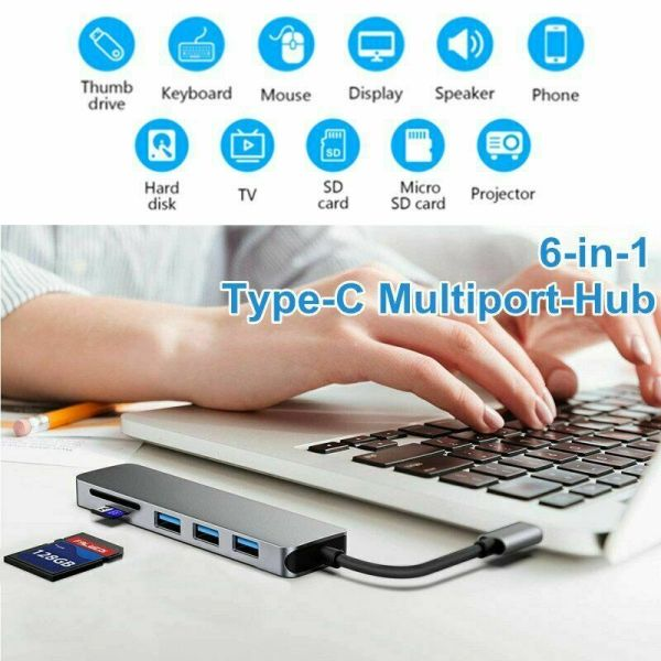 [Local Ready Stock] 6in1 Type C Multiport Hub, 3-Port USB C ,1-Port SD TF Card Reader,USB C to HDMI 4K for MacBook Pro, Google Chromebook, Samsung Galaxy S8/S9 and Other USB C Devices