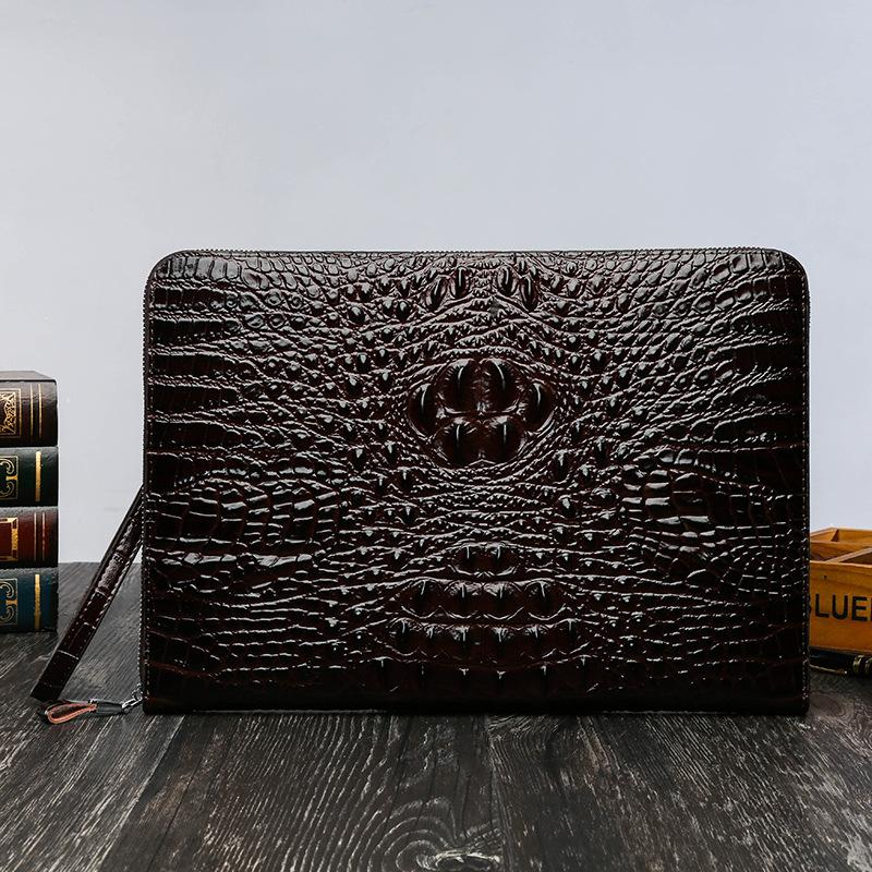 Big Handbag Male 2019 New Style Fashion Large Capacity Men Clutch Crocodile Pattern Bag Male Wallets Envelope A4 Package