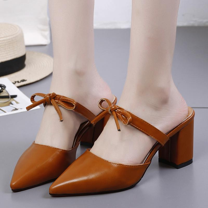 e7d4aca05c084 2018 Korean Style Summer Bow Mules Shoes Female Pointed Block Heel High  Heels Sandals Closed-