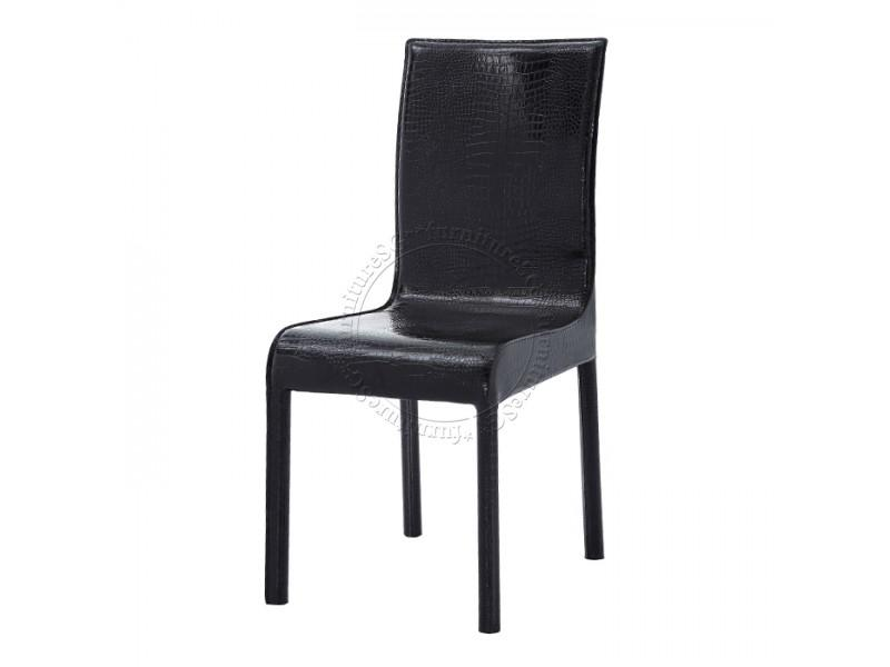 (FurnitureSG) Black Synthetic Leather Dining Chairs