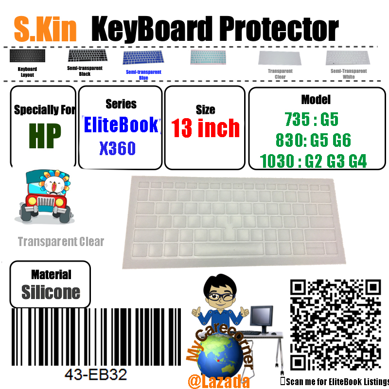 S.kin 13inch Hp Elitebook X360 830  G5 G6  735  G5  Elitebook X360 1030 G2 G3 Notebook Pc Silicone Keyboard Skin Cover Protector Laptop  Protective Film Membrane.