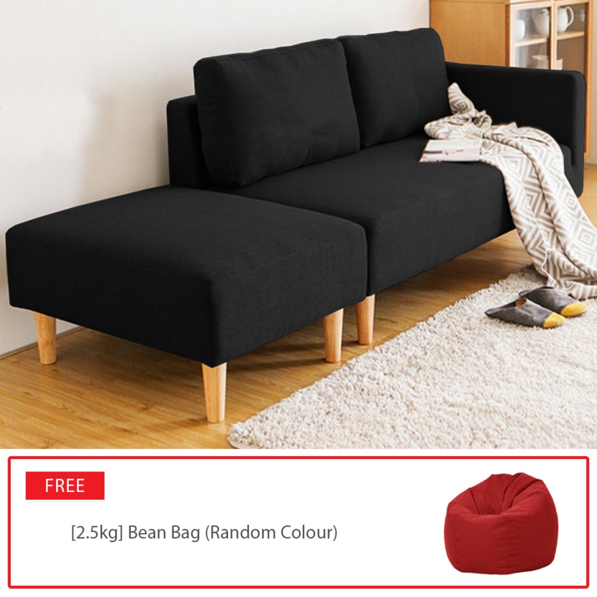 ELLISE 2 Seater Fabric L Shape Design Sofa with Stool [1 YEAR WARRANTY]