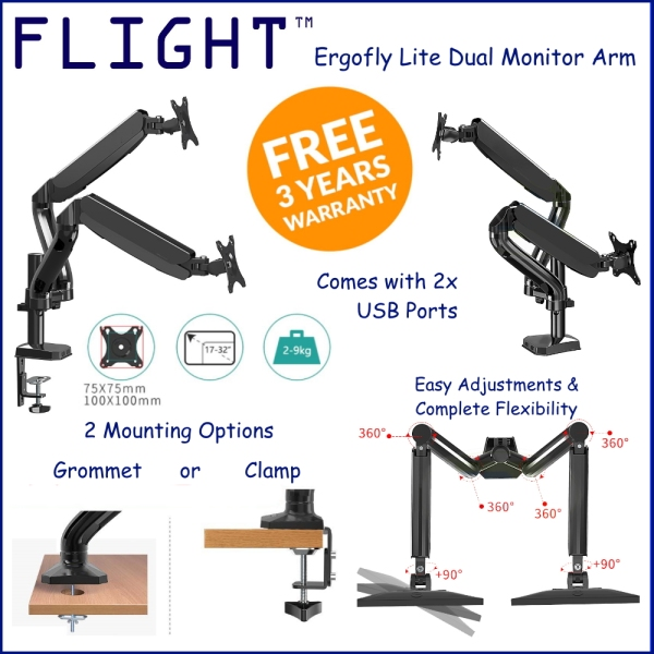 Flight™ Dual Ergofly LITE Monitor Arm. LCD Arm. Monitor Mount. Vesa Mount. Monitor Stand. Come With 2 x 3.0USB. 3 years Local Warranty. Ready Stock. Black Color. Support Up To 9kg Monitor