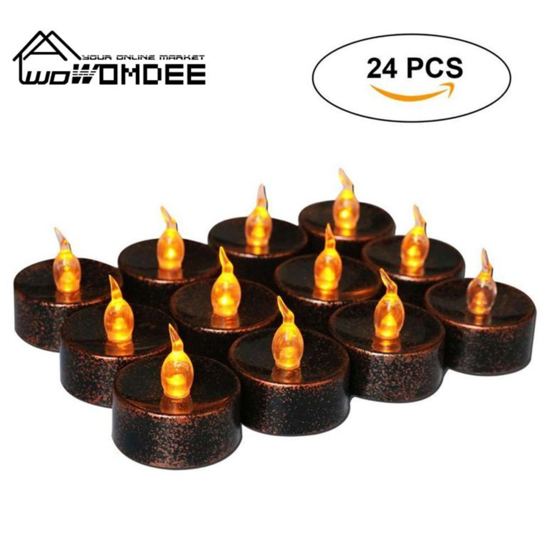 Womdee Tea Lights Electric Battery Fake Tealight Black LED Candles For Votive, Wedding, Party, Table, Dining Room, Amber Yellow Light Bulb, Pack Of 24 - intl