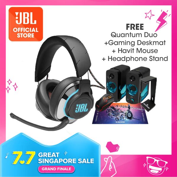 JBL Quantum 800 Wireless over-ear performance gaming headset with Active Noise Cancelling and Bluetooth 5.0 Bundle (Quantum Duo + Quantum Headphone Stand + Gaming Deskmat + Havit Mouse) Singapore