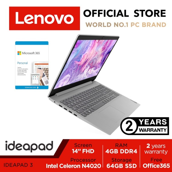 【HBL】Office 365 | Ideapad 3 14IGL05 | 81WH003FSB | 14inch FHD | Intel Celeron | 4GB RAM | 128GB SSD | 2Years warranty | Win10 | Free Office 365